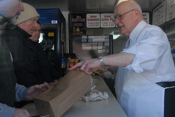 Coffee Pot owner Skip Rist (right) closed his store on New Year's Eve in 2009.