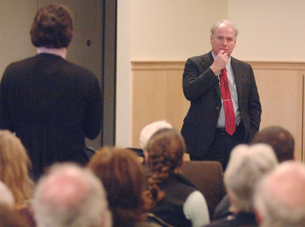 James Page, one of three finalists for the UMaine chancellor position, listens to questions at an open forum in Wells Commons, Orono, Wednesday, Jan. 18, 2012.