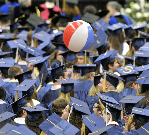 The 209th commencement was not complete without the arrival of the beach ball in the throng at the Alfond Arena at the University of Maine in Orono in May 2011.
