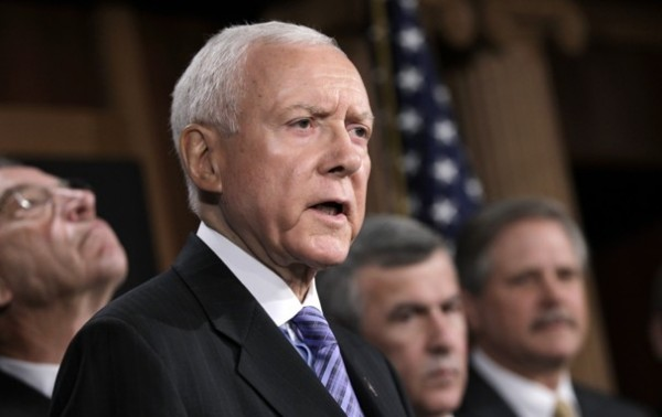 Sen. Orrin Hatch (R-Utah) calls on the president to kick start a dormant U.S. trade agenda in Washington on Sept. 7. The six-term senator enters the state Republican convention Saturday as the heavy favorite with the real possibility of securing enough support to win the Senate nomination outright, forgoing the need for a statewide primary.