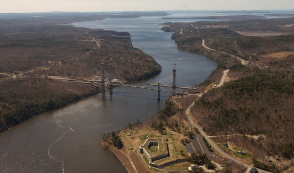 The aerial view of the Penobscot River near Verona Island (left) and Prospect on right in April 2006. In the foreground is Fort Knox, and the old Waldo-Hancock Bridge with the new Downeast Gateway Bridge.
