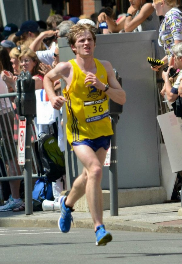 Nick Wheeler of Rockland approaches the finish line Monday during the Boston Marathon. Wheeler overcame hot conditions to become the first Mainer to complete the race and finish 35th overall.