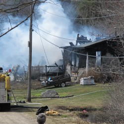 Firefighters from Winter Harbor, Gouldsboro and several surrounding communities worked Friday morning to extinguish a fire that destroyed a Winter Harbor home.