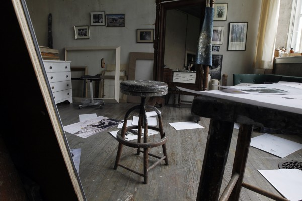 A stool sits in the middle of the room during a preview tour of the home and studio of artist Andrew Wyeth on Monday, April 23, 2012 in Chadd's Ford, Pa. The studio will be open for tours in the summer of 2012 by the Brandywine River Museum.