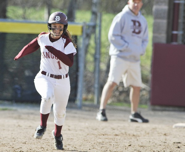 Bangor player Anna Morris steals second uncontested in the third inning of their game against Messalonskee in Bangor on Tuesday, April 24, 2012.