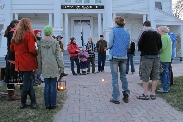 Area residents gathered at Blue Hill Town Hall on Tuesday evening, April 3, 2012 for a vigil to support Dorothy Leighton of Blue Hill. The town of Blue Hill intends to evict her unless a solution emerges to the back taxes she owes.
