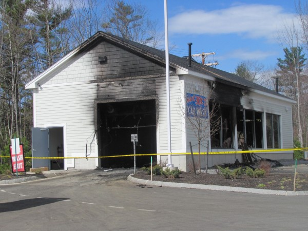 The interior of this carwash on Route 1 in Wiscasset was destroyed Wednesday, April 4, 2012, when a car inside caught fire.