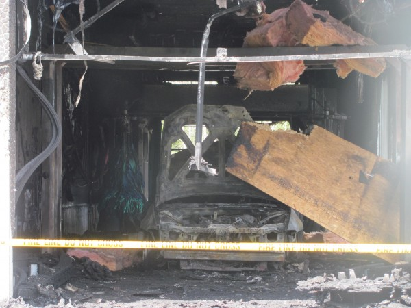 A carwash on Route 1 in Wiscasset was damaged heavily on Wednesday, April 4, 2012, when this car inside caught fire.