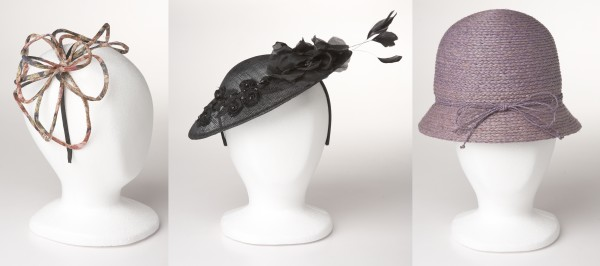 Stand out at parties in spring's trendiest hats. Designer Jane Tran's spidery flowered fascinator ($85, from left) and romantic fascinator trimmed in feathers ($155), and DeLux's 1920s cloche in straw ($50).