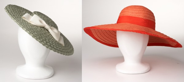 A wide-brimmed wonder, such as this budget straw hat from Target ($15, right) works on the polo grounds, but stick to a less view-blocking cocktail hat for the theater or church. Long Island, N.Y., milliner Marcia Lacher's saucer hat ($155, left).
