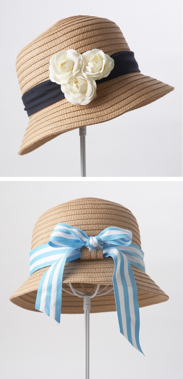 Washington artist Holly Bass shows how to transform a plain cloche ($15, from Target) into party-worthy styles. Flower pins dress up the hat's existing black band top) and a length of striped ribbon (buy at fabric stores or Mjtrim.com) turns the hat into a picnic-ready piece (bottom).
