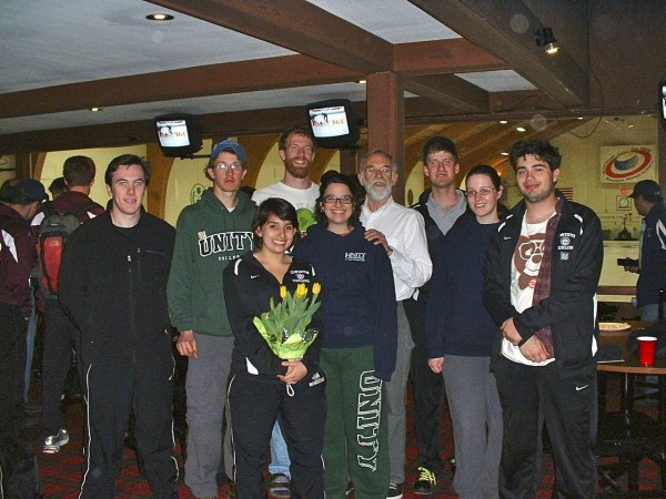 This is both teams down in Wayland, Mass., at the Broomstones Curling Club, College New England Regionals. From left are Andrew Hancock, Bowdoin; Taylor Noble, Unity;  Jimena Escudero, Bowdoin;  Unity skip (captain) Tim Godaire; Brenda Ferriera, Unity;  Douglas Coffin;  Bowdoin skip (captain) Carl Spielvogel;  Madeline Meason, Unity; Jay Tulchin, Bowdoin.