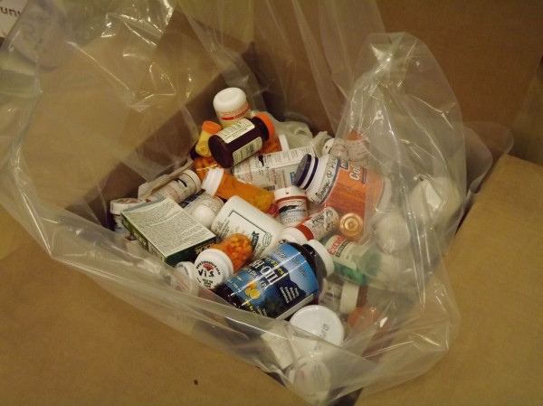 A box of expired and unwanted medications and pills are collected at a Rite Aid Pharmacy on Main Street in Waterville during the National Prescription Drug Take-Back Day on Saturday, April 28, 2012.