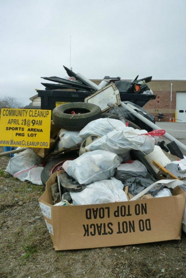 This is part of the pile of trash collected on Saturday, April 21, 2012, during the fifth annual Bangor-Hermon Community Cleanup event organized as part of Earth Day. Organizers estimate they collected about 100 bags of trash.
