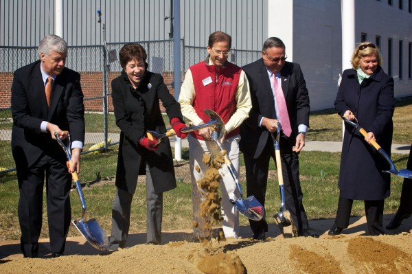 Dignitaries ceremonially break ground at a multimillion dollar expansion project for Idexx Laboratories in Westbrook on Tuesday, April 3, 2012. From left are U.S. Rep. Mike Michaud, U.S. Sen. Susan Collins, IDEXX CEO Jonathan Ayers, Gov. Paul LePage and U.S. Rep. Chellie Pingree.