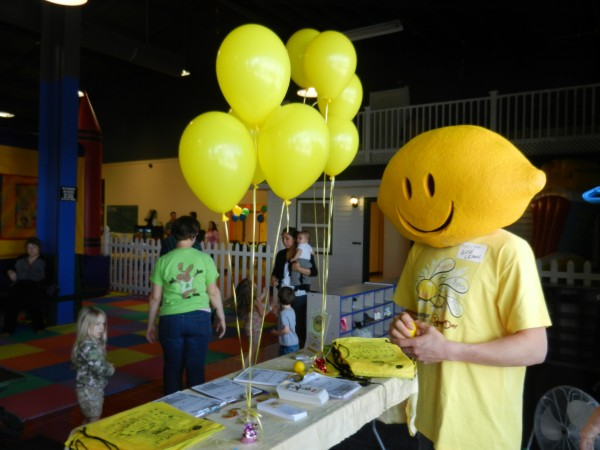 Wise Lemon was on hand at The Maine Jump in Bangor on Saturday, April 14, 2012 to greet children and pose for photos at a table set up to promote the fourth annual Lemonade Day. Lemonade Day is June 3, when children ages 5-18 nationwide will set up lemonade stands and compete for prizes including a $2,500 scholarship and the right to set up lemonade stands during the Fourth of July fireworks shows in Bangor and Portland.