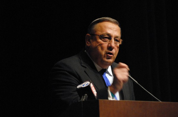 Gov. Paul LePage speaks at the Family Business Forum at Husson University's Gracie Theater Thursday morning.