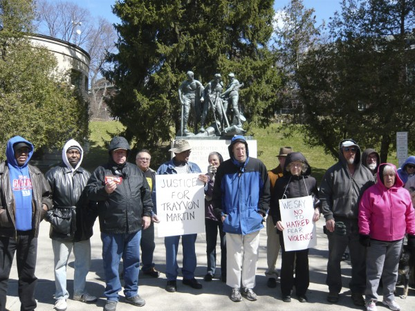Bob Talbot from the Greater Bangor NAACP spoke and could identify the man who is holding the sign &quotJustice for Trayvon.&quot