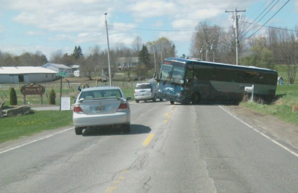 Greyhound bus driver, 26-year-old Jamal Hinson of New York City, was trying to get to Dysart's Truck Stop and Restaurant on Tuesday when he wound up in a ditch while trying to turn his bus around on U.S. Route 2.