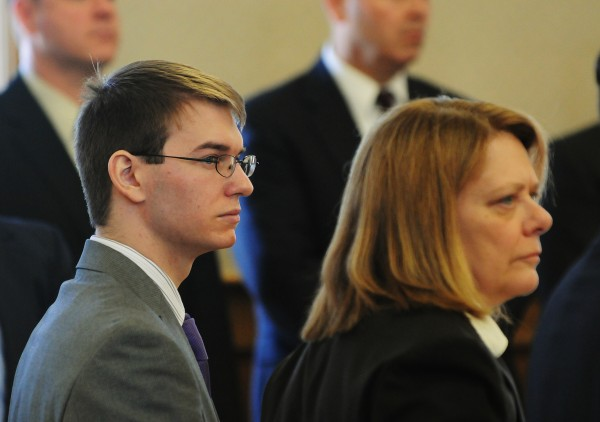 Thayne Ormsby stands with his attorney Sarah LeClaire as the jury files into the courtroom on Friday, April 13, 2012. Ormsby was found guilty in the triple homicide killings of Jesse Ryan, Jeff Ryan and Jason Dehahn in June of 2010 in the town of Amity.