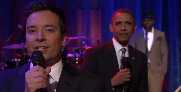President Barack Obama and Jimmy Fallon 'slow-jam the news' on Late Night with Jimmy Fallon.