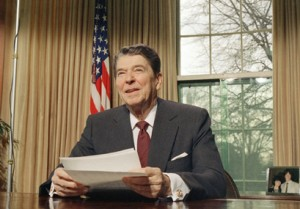President Ronald Reagan is shown during a televised speech at the White House in Washington.