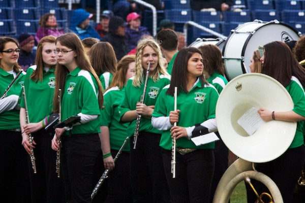 The Massabesic High School band gets ready to play the national anthem at the Portland Sea Dogs' home opener Thursday, April 12, 2012.
