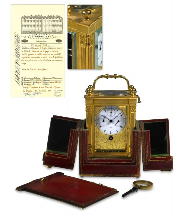 The circa 1853 rare Breguet carriage clock recently sold for $135,239 at Antiquorum.