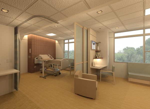 An architect's rendering of the new patient rooms in the expansion of Sebasticook Valley Hospital in Pittsfield.