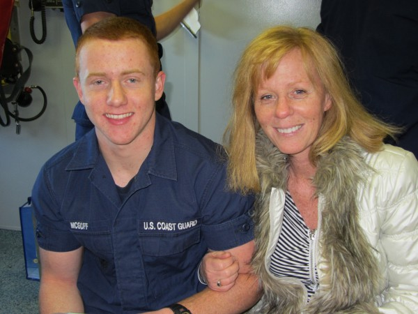 Seaman Apprentice Brian McGoff was welcomed back to Rockland by his mother Peggy McGoff.