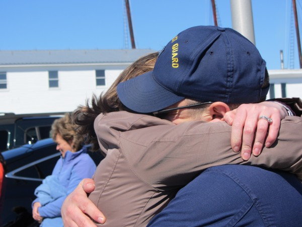 Thunder Bay's commander Jerry Smith hugs his wife Kathleen.