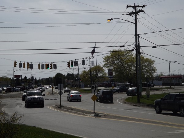 Traffic flows through a traffic light at the Newport Triangle, as it's known to locals. It's the area near the intersection of Routes 2, 7 and 11 near exit 157 of Interstate 95. Part of Palmyra is also in the triangle.