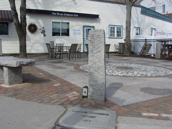 The paving stone with the inscription to World War I veterans Lt. Albert Holbrook and Pvt. Arthur Winslow is located in the square at the intersection of Main Street and Park Drive. The Brass Compass seeks to use a 12-foot-wide strip adjacent to the restaurant for outside seating.