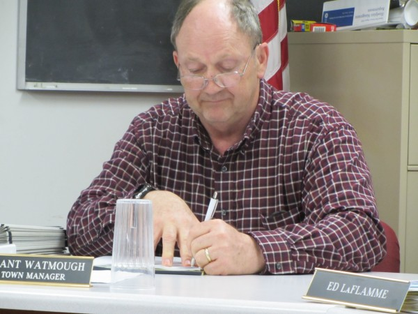 Warren Town Manager Grant Watmough was reappointed Wednesday, April 18, 2012 for another year.