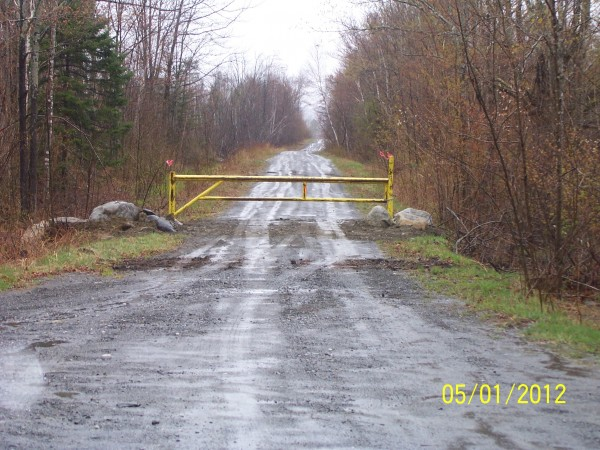 The trench and blockage on the old Quarry Brook Road.