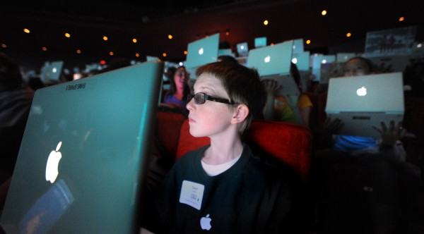Sean Doughty, 13, of the Sacopee Valley Middle School in Hiram was among the about 1,000 students who participated in the 9th annual Maine Learning Technology Initiative Student Conference at the University of Maine in Orono on Thursday, May 24, 2012.