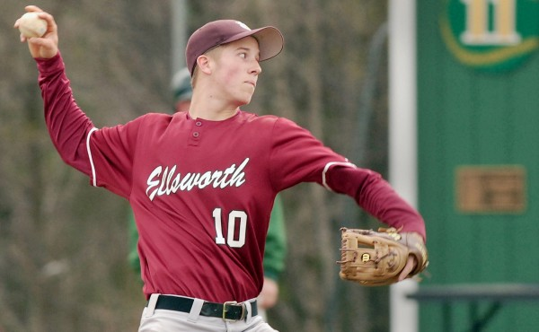 Ellsworth High School's Kyle Haslam (10) delivers a pitch against MDI Saturday afternoon in Bar Harbor. Ellsworth won 2-1.