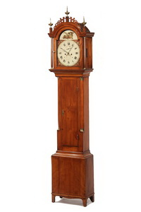 Maine-Made Hepplewhite Period tall case clock by Frederick Wingate to be sold at Thomaston Place Auction Galleries on June 9, 2012