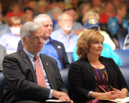 U.S. Rep. Mike Michaud (left) and Maine's first lady Ann LePage were among the guests at the Maine Troop Greeters open house on Armed Forces Day at the Bangor International Airport on Saturday, May 19, 2012.