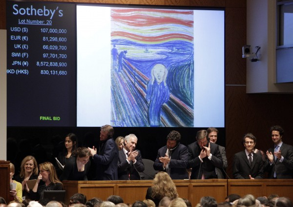 Edvard Munch's &quotThe Scream&quot is auctioned at Sotheby's on Wednesday, May 2, 2012, in New York.