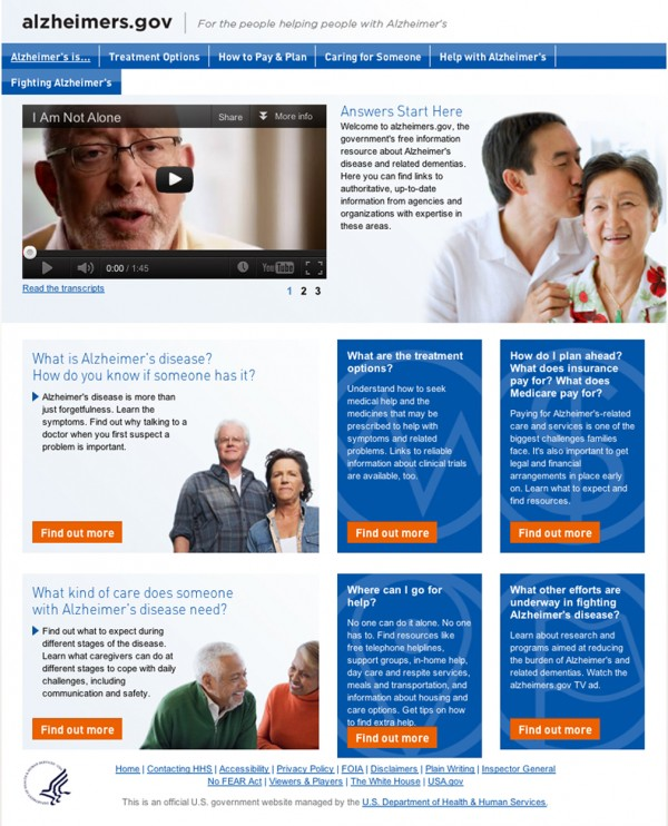 This image from Health and Human Services' new website alzheimers.gov shows the home page. The Obama administration adopts a landmark national strategy to fight Alzheimer's on Tuesday, May 15, 2012, setting the clock ticking toward a deadline of 2025 to finally find effective ways to treat, or at least stall, the mind-destroying disease. But work is beginning right away: Starting Tuesday, embattled families and caregivers can check a new one-stop website for easy-to-understand information about dementia and where to get help.