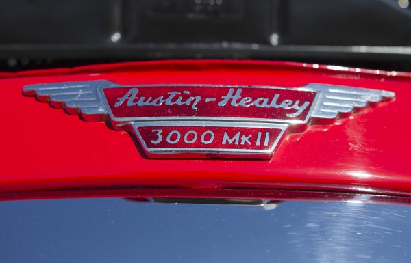A nameplate on the front of Jim Begin's 1962 Austin Healey.