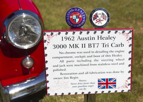 A sign displayed at a car show in Brunswick on May 19, 2012, details some of the work Jim Begin of Richmond put into his 1962 Austin Healey.