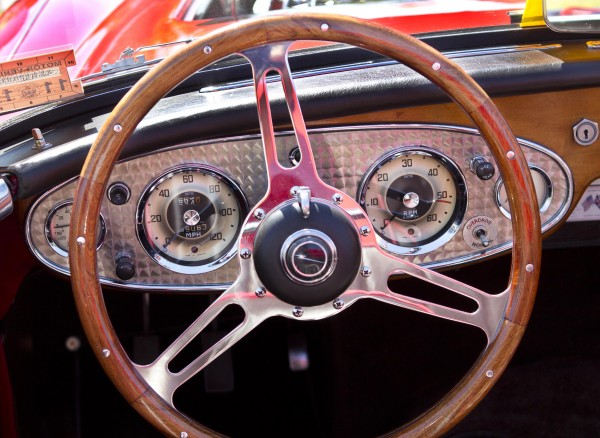 A steering wheel made of Brazilian cherry and a stainless steel instrument panel are just some of the restorations Jim Begin has made in his 1962 Austin Healey.