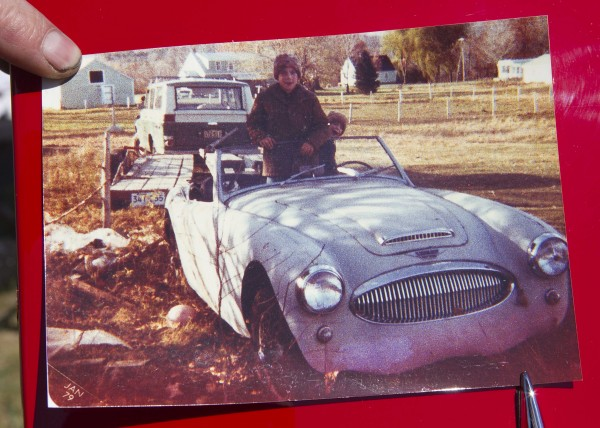 A snapshot made in Oct. 1978 shows the condition of the 1962 Austin Healey when Jim Begin bought it from a man in Monmouth. It had been sitting in a yard so long bushes were growing in the front seat.