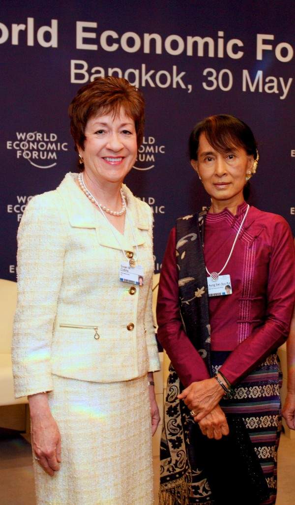 U.S. Sen. Susan Collins, R-Maine, met Thursday, May 31, 2012, with Burmese opposition leader Aung San Suu Kyi at the World Economic Forum in Bangkok, Thailand, during an official visit to Southeast Asia.