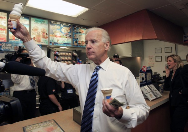 Vice President Joe Biden hands out ice cream cones after stopping at Dairy Queen on Wednesday.