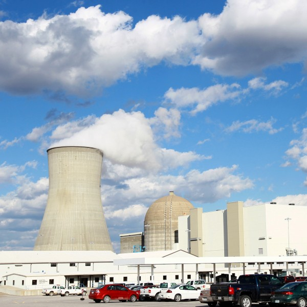 This view of the Ameren Missouri's Callaway County nuclear power plant in Reform, Missouri, on Friday, April 1, 2012, shows the cooling tower, left, the building that houses spent fuel, center, the dome building that houses the reactor and the building that houses the steam turbine and electric generator, right. (David Carson/St. Louis Post-Dispatch/MCT)