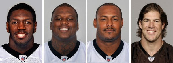 NFL players (from left) Jonathan Vilma, in 2011; Anthony Hargrove, in 2010; Will Smith, in 2011; and Scott Fujita, in 2011; face suspensions for their roles in the cash-for-hits bounty system linked to the New Orleans Saints. Saints linebacker Jonathan Vilma was suspended without pay for the entire 2012 season by the NFL, one of four players punished Wednesday, May 2, 2012, for participating in the team's cash-for-hits bounty system. Defensive lineman Anthony Hargrove, now with the Green Bay Packers, was suspended for the first half of this season; Saints defensive end Will Smith was barred for the opening four games; and linebacker Scott Fujita, now with the Cleveland Browns, will miss the first three games. All of the suspensions are without pay.