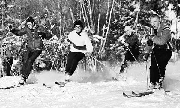 Among the skiers hitting the slopes at Bald Mountain Ski Area in late January 1960 were (from left) Bangor High School students Walter Melvin, Peter Haney, Jack Dunn, and Bruce McLaughlin.